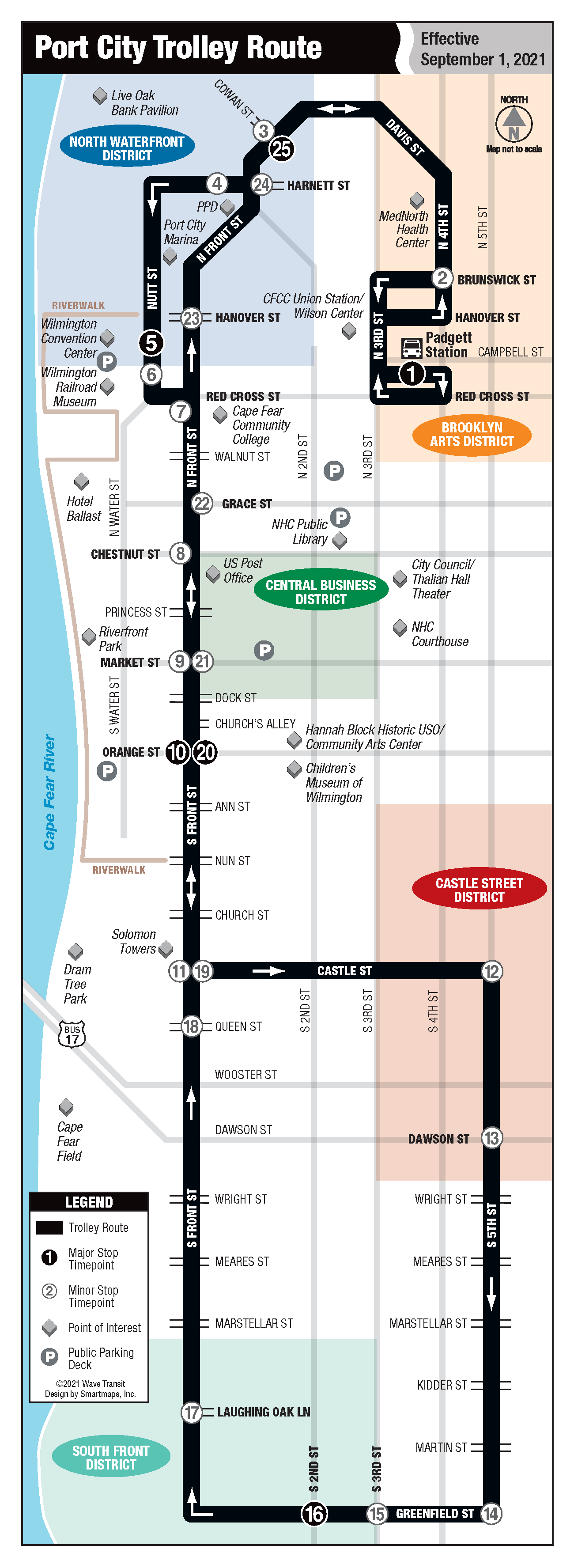 A route map for the Port City Trolley